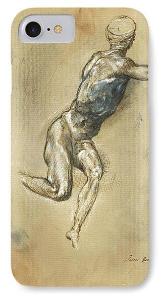 Male Nude Figure IPhone Case by Juan Bosco