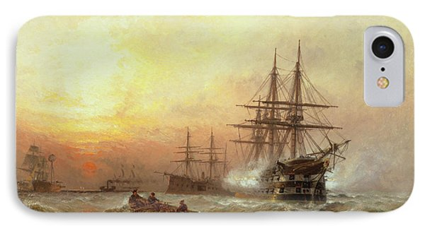 Man-o-war Firing A Salute At Sunset IPhone Case by Claude T Stanfield Moore