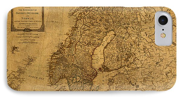Map Of Norway Sweden Denmark And Scandinavia Circa 1794 On Worn Distressed Parchment IPhone Case by Design Turnpike