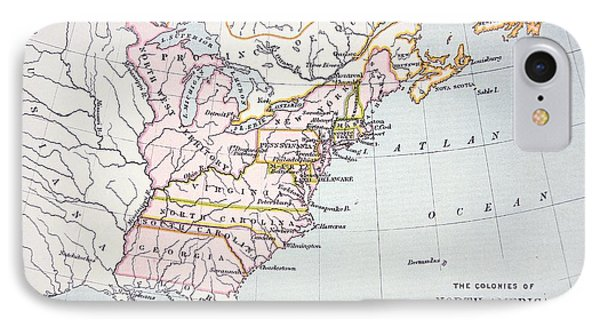 Map Of The Colonies Of North America At The Time Of The Declaration Of Independence IPhone Case by American School