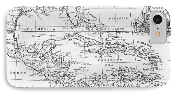 Map Of The West Indies Florida And South America Phone Case by English School