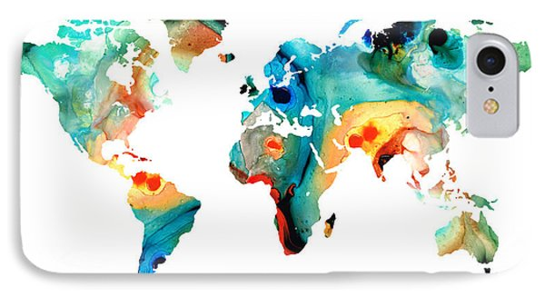 Map Of The World 11 -colorful Abstract Art Phone Case by Sharon Cummings