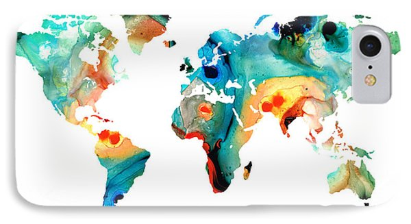 Map Of The World 11 -colorful Abstract Art IPhone Case by Sharon Cummings