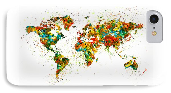 Map Of The World Watercolor IPhone Case by Marian Voicu