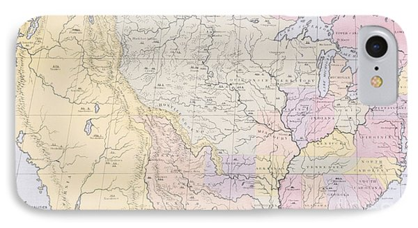 Map Showing The Localities Of The Indian Tribes Of The Us In 1833 IPhone 7 Case by Thomas L McKenney and James Hall