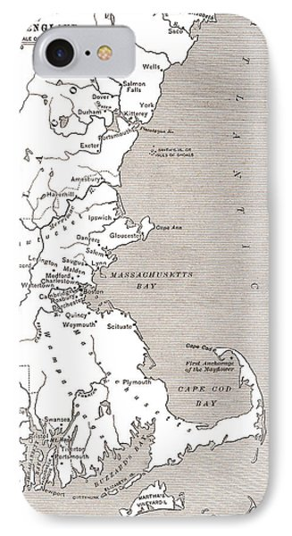 Map Showing The Settlements In The New England Colonies, North America In The 17th Century IPhone Case by American School