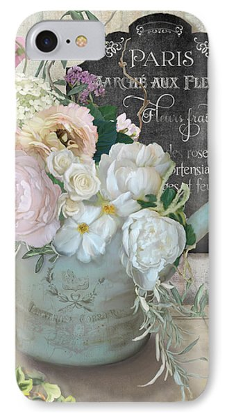 Marche Paris Fleur Vintage Watering Can With Peonies IPhone Case by Audrey Jeanne Roberts