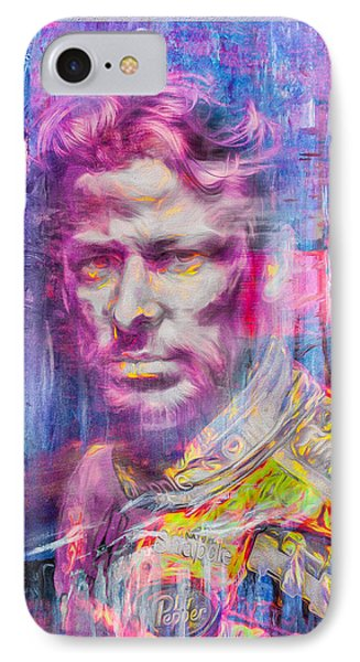 Marco Andretti Digitally Painted Portrait IPhone Case by David Haskett