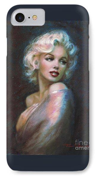 Marilyn Romantic Ww Dark Blue IPhone Case by Theo Danella
