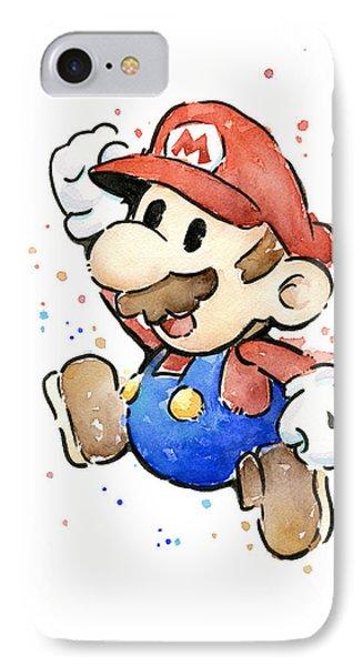 Mario Watercolor Fan Art IPhone Case by Olga Shvartsur