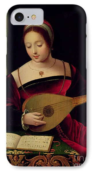 Mary Magdalene Playing The Lute IPhone Case by Master of the Female Half Lengths