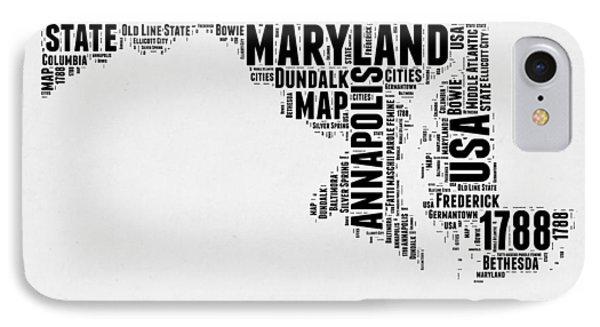 Maryland Word Cloud 2 IPhone Case by Naxart Studio