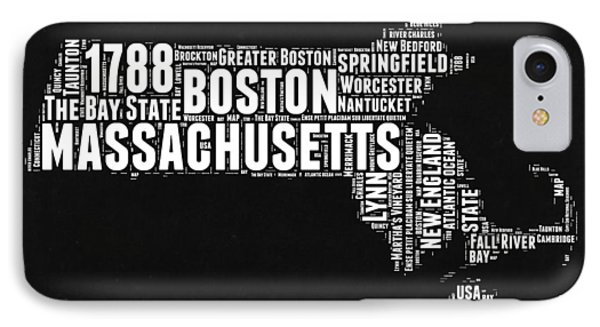 Massachusetts Black And White Word Cloud Map IPhone Case by Naxart Studio