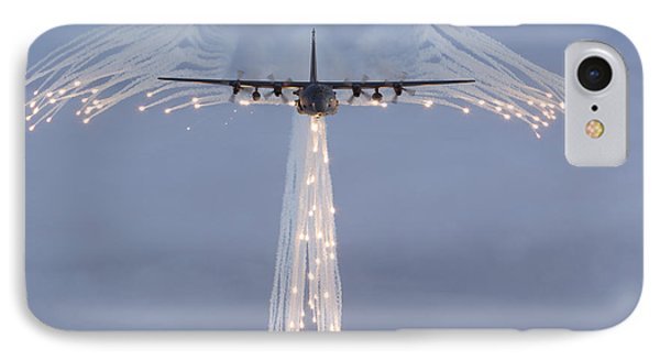 Mc-130h Combat Talon Dropping Flares IPhone Case by Gert Kromhout