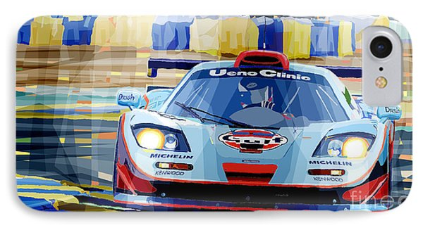 Mclaren Bmw F1 Gtr Gulf Team Davidoff Le Mans 1997 IPhone Case by Yuriy  Shevchuk