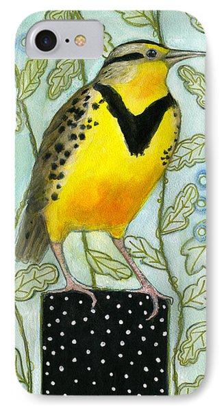 Meadowlark Black Dot Box IPhone Case by Blenda Tyvoll