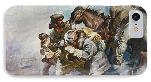 Men And Horses Battling A Storm IPhone Case by James Edwin McConnell