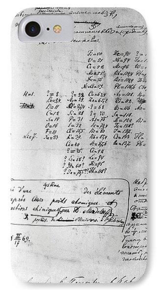 Mendeleyev's Periodic Table, 1869 IPhone Case by Ria Novosti