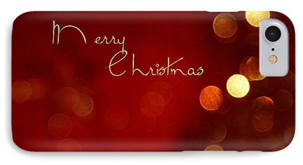 Merry Christmas Card - Bokeh IPhone Case by Aimelle