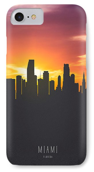 Miami Florida Sunset Skyline 01 IPhone Case by Aged Pixel