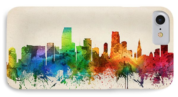 Miami Florida Skyline 05 IPhone Case by Aged Pixel