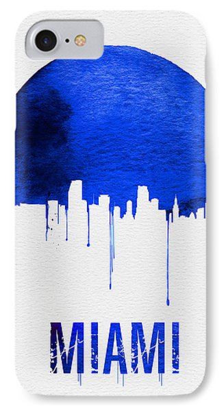 Miami Skyline Blue IPhone Case by Naxart Studio