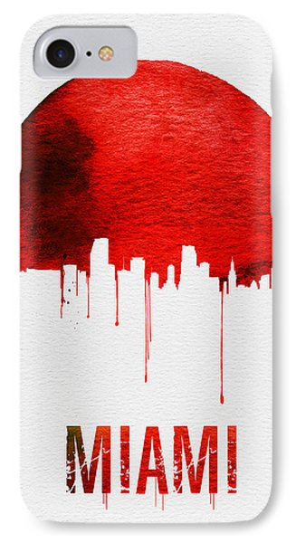 Miami Skyline Red IPhone Case by Naxart Studio
