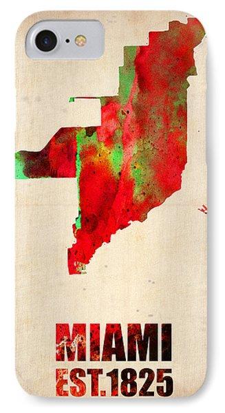 Miami Watercolor Map IPhone Case by Naxart Studio