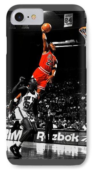 Michael Jordan Suspended In Air IPhone Case by Brian Reaves