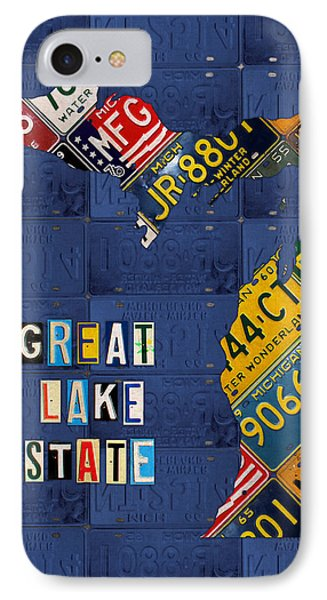 Michigan License Plate Map Great Lake State With Vintage Blue Plate Background Edition IPhone Case by Design Turnpike