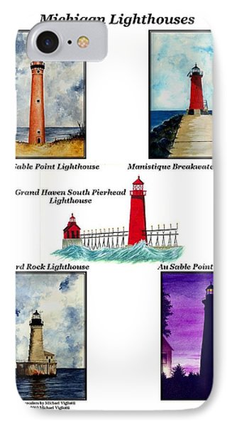 Michigan Lighthouses Collage Phone Case by Michael Vigliotti