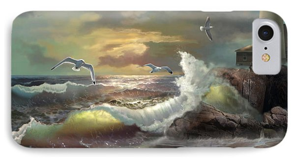 Michigan Seul Choix Point Lighthouse With An Angry Sea IPhone 7 Case by Regina Femrite