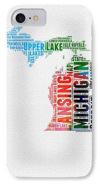 Michigan Watercolor Word Cloud IPhone Case by Naxart Studio