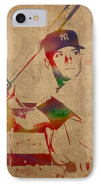 Mickey Mantle New York Yankees Baseball Player Watercolor Portrait On Distressed Worn Canvas IPhone Case by Design Turnpike