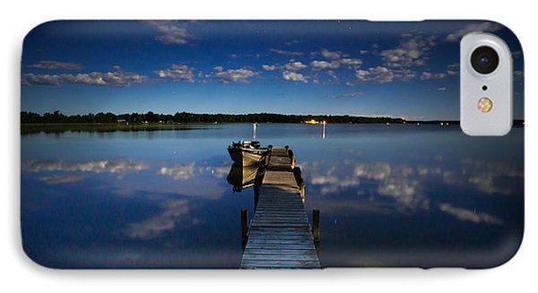 Midnight At Shady Shore On Moose Lake Minnesota IPhone 7 Case by Alex Blondeau