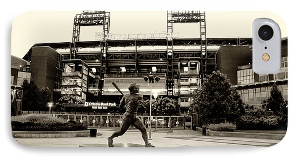 Mike Schmidt In Sepia IPhone Case by Bill Cannon