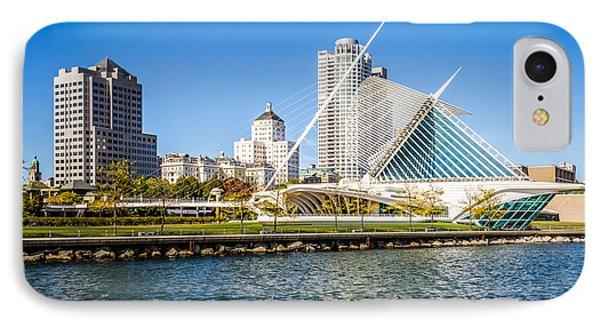 Milwaukee Skyline Photo With Milwaukee Art Museum IPhone Case by Paul Velgos