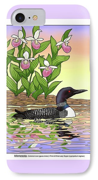 Minnesota State Bird Loon And Flower Ladyslipper IPhone Case by Crista Forest