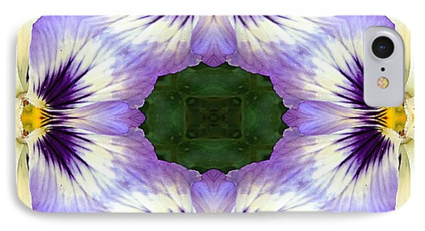 Mirrored Pansies - Square IPhone Case by Jon Woodhams