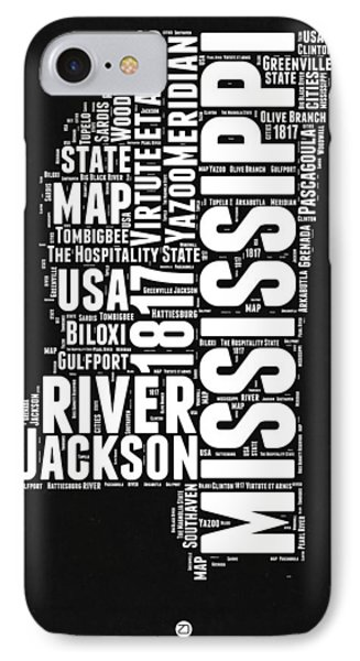 Mississippi Black And White Map IPhone Case by Naxart Studio