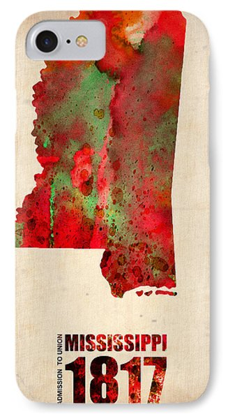 Mississippi Watercolor Map Phone Case by Naxart Studio