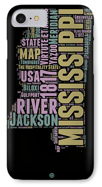 Mississippi Word Cloud 1 IPhone Case by Naxart Studio
