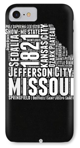 Missouri Black And White Word Cloud Map IPhone Case by Naxart Studio