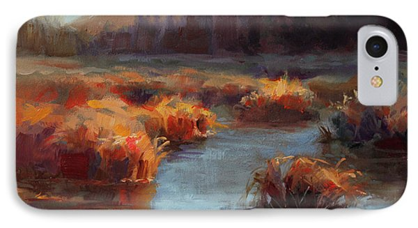 Misty Autumn Meadow With Creek And Grass - Landscape Painting From Alaska IPhone Case by Karen Whitworth