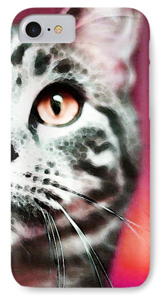 Modern Cat Art - Zebra IPhone Case by Sharon Cummings