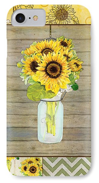 Modern Rustic Country Sunflowers In Mason Jar IPhone Case by Audrey Jeanne Roberts