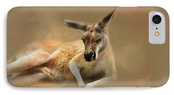 Monday Morning Drowsies Kangaroo Art IPhone Case by Jai Johnson