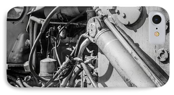 Monochrome Of An Industrial Machines Engine Compartment IPhone Case by John Williams