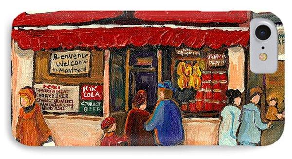 Montreal Hebrew Delicatessen Schwartzs By Montreal Streetscene Artist Carole Spandau IPhone Case by Carole Spandau