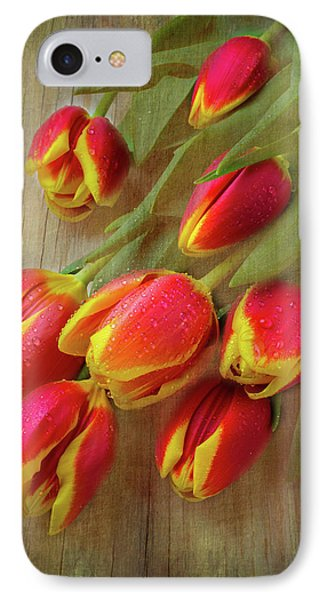 Moody Testured Tulips IPhone Case by Garry Gay